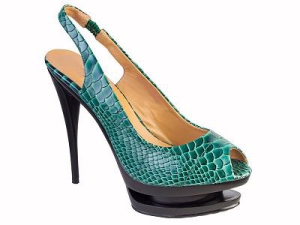Queen Size Exclusive Ladies Footwear, Emerald peep-toe heel with sling-back, New Range.