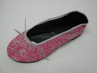 Queen Size Exclusive Ladies Footwear, Fashion Pumps, Ballet Pumps with a Twist, Pink with flower pattern detail.