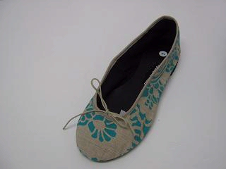 Queen Size Exclusive Ladies Footwear, Fashion Pumps, Ballet Pumps with a Twist, Turquoise print.