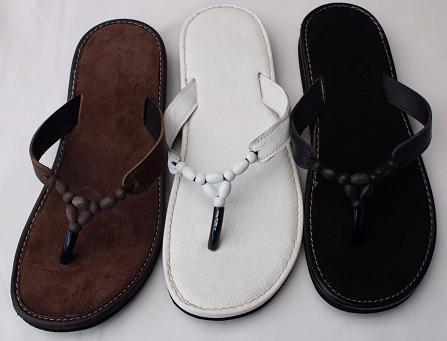 Queen Size Exclusive Ladies Footwear, Wood bead, Leather detail, flat sandals, New Range.
