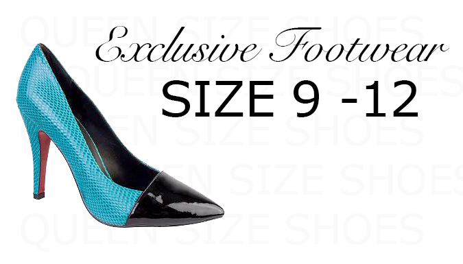 Queen Size Exclusive Ladies Footwear, Web logo with Opal High Heel shoe.
