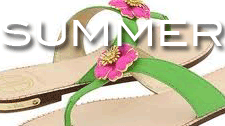 Queen Size Exclusive Ladies Footwear, Summer Collection logo and sandals with a flower decoration.