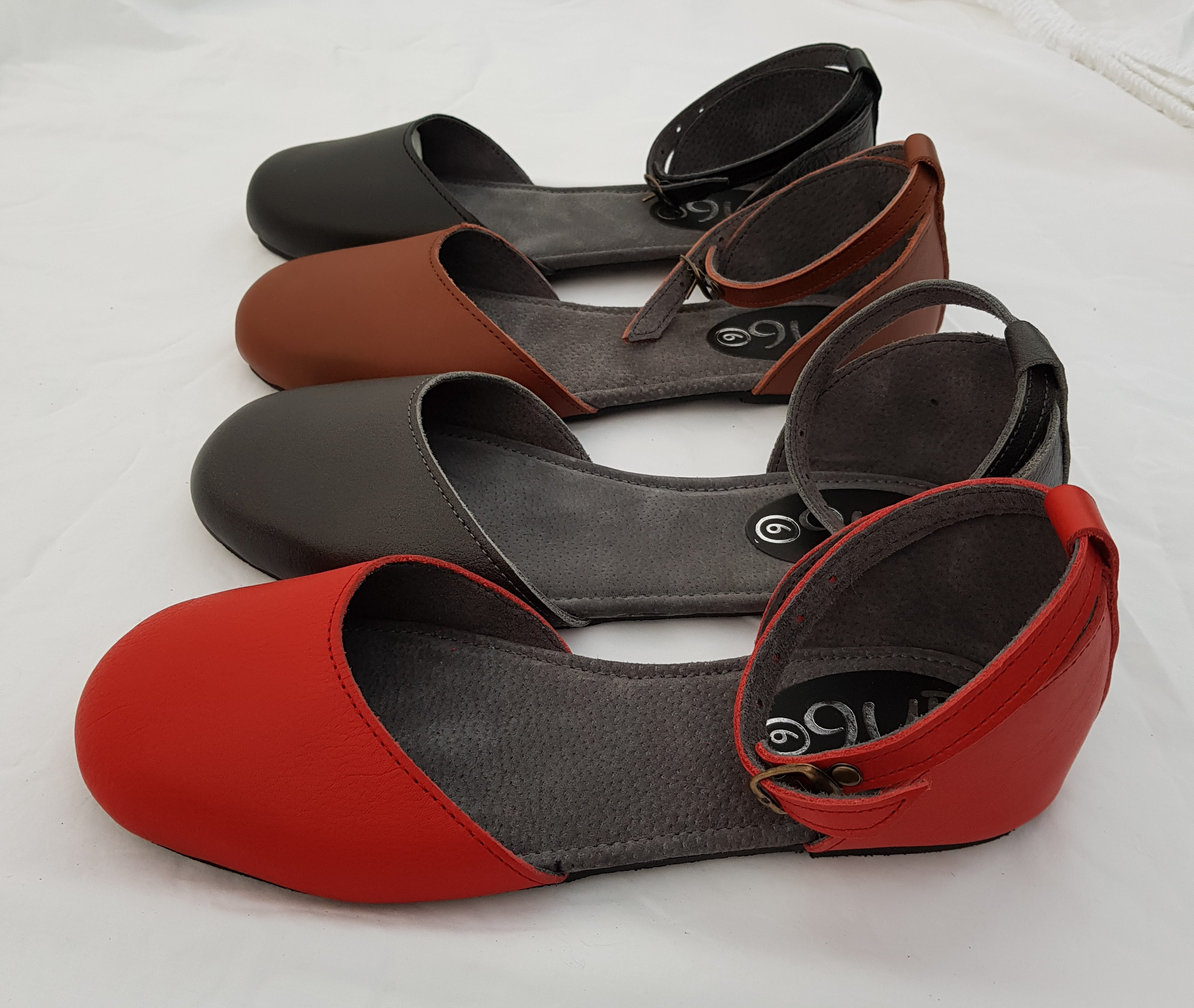 Queensize Shoes, Marike - flock ankle strap flat shoe.