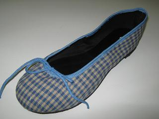 Queen Size Exclusive Ladies Footwear, Fashion Pumps, Ballet Pumps with a Twist, Blue and white checkered pattern.