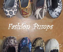 Queen Size Exclusive Ladies Footwear, Fashion Pumps Logo with various styled pumps.