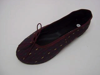 Queen Size Exclusive Ladies Footwear, Fashion Pumps, Ballet Pumps with a Twist, Brown-Maroon.