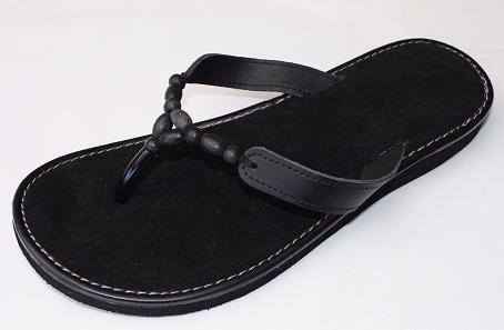 Queen Size Exclusive Ladies Footwear, Wood bead, Leather detail, flat sandal, Black, New Range.