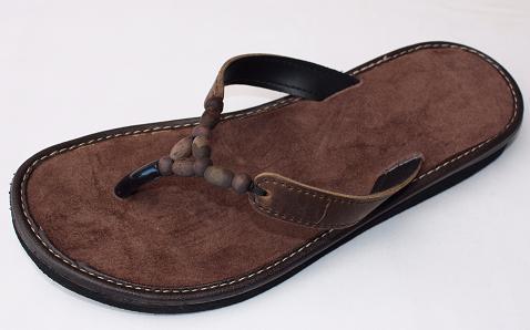 Queen Size Exclusive Ladies Footwear, Wood bead, Leather detail, flat sandal, Brown, New Range.