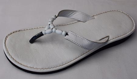 Queen Size Exclusive Ladies Footwear, Wood bead, Leather detail, flat sandal, White, New Range.