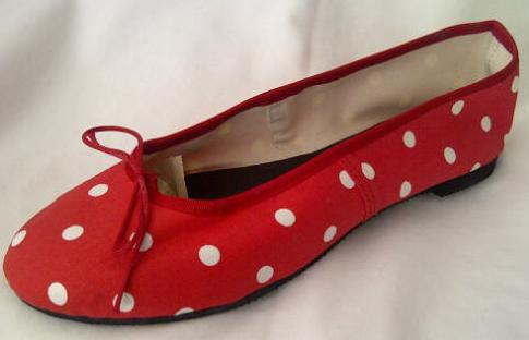Queen Size Exclusive Ladies Footwear, Fashion Pumps, Ballet Pumps with a Twist, Red with white polka dots.