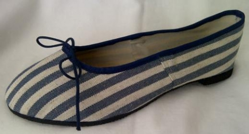 Queen Size Exclusive Ladies Footwear, Fashion Pumps, Ballet Pumps with a Twist, blue and white stripes.